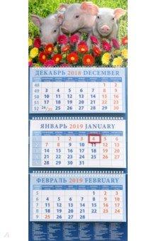 Календарь квартальный на 2019 год Год поросенка. Среди цветов (14918)