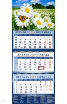 izmeritelplus.ru: Календарь 2019 Пейзаж с ромашками и бабочкой (14935).