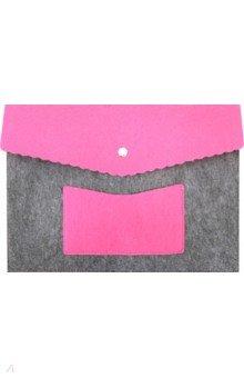 Папка А4 с карманом из фетра (серо-розовая)