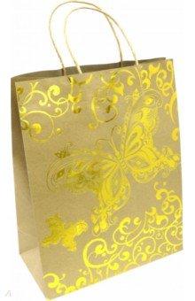 """Пакет из крафт-бумаги """"Золотые бабочки"""" 26х32.4х12.7 (79255)"""