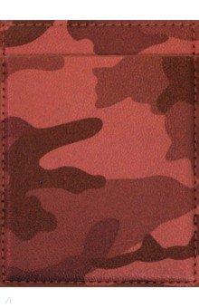 """Чехол для пластиковых карт """"Камуфляж"""" (78х105 мм, красный, 3 отделения) (47747)"""