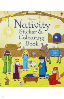 Купить Nativity Sticker and Colouring Book, Usborne, Книги для детского досуга на английском языке