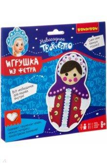 Купить Набор для творчества Елочная игрушка из фетра. Матрёшка (ВВ3008), BONDIBON, Изготовление мягкой игрушки