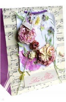Zakazat.ru: Пакет бумажный Ноты и цветы (26х32,4х12,7см) (44198).