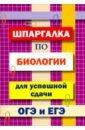 Обложка Шпаргалка по биологии для успешной сдачи ОГЭ и ЕГЭ