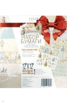 Набор бумаги Джентиль 30, 5х30, 5 см, 12 листов + подарок набор штампов (FD1003930p), Fleur Design, Скрапбук  - купить со скидкой