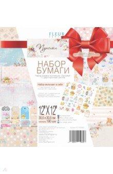 Купить Набор бумаги Пупсики 30х30, 11 листов + штампы (FD1005030p), Fleur Design, Скрапбук