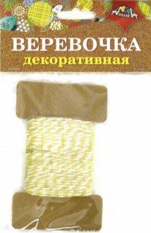 Купить Декоративная веревочка двухцветная: желтая с белым (С5066-03), АппликА, Скрапбук