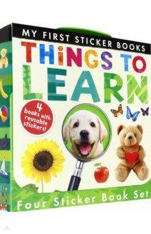 Купить My First Sticker Books: Things to Learn (4-books), Little Tiger Press, Первые книги малыша на английском языке