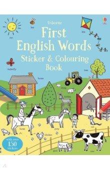 Купить First English Words Sticker & Colouring Book, Usborne, Книги для детского досуга на английском языке