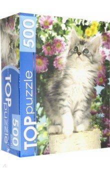 Купить TOPpuzzle-500 Котенок в цветах (КБТП500-6798), Рыжий Кот, Пазлы (400-600 элементов)