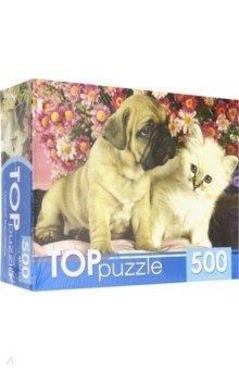 Купить TOPpuzzle-500 Щенок и котенок (КБТП500-6800), Рыжий Кот, Пазлы (400-600 элементов)