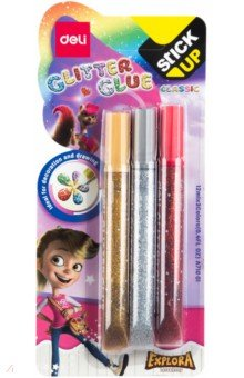 Купить Клей-гель с блестками Explora (3 цвета) (EA71001), DELI, Сопутствующие товары для детского творчества