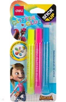 Купить Клей-гель с блестками Explora (3 цвета, неон) (EA71201), DELI, Сопутствующие товары для детского творчества