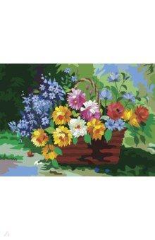 Купить Картина по номерам с акриловыми красками Цветы в корзине , А3 (661615), Brauberg, Создаем и раскрашиваем картину