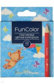 """Карандаши цветные укороченные пластиковые 12 цветов """"FUNCOLO"""" 4 вида (30-0090)"""