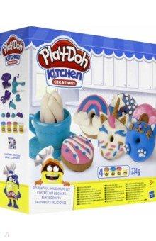 Купить ПЛЭЙ-ДО Набор игровой Выпечка и пончики (E3344EU4), Hasbro, Наборы для лепки с игровыми элементами