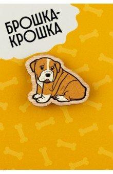 Zakazat.ru: Значок деревянный Собачка бульдог.