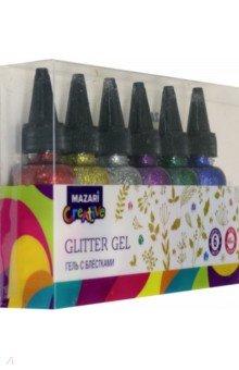 Купить Гель с блёстками Flicker (6 цветов по 40 мл) (M-5665A), MAZARI, Сопутствующие товары для детского творчества