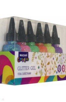 Купить Гель с блёстками Flashing (6 цветов по 40 мл) (M-5665B), MAZARI, Сопутствующие товары для детского творчества