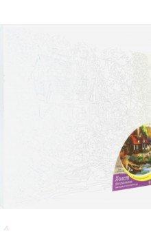 Купить Холст с красками для рисования Дом с причалом , 30х40 см (Х-0404), Рыжий Кот, Создаем и раскрашиваем картину