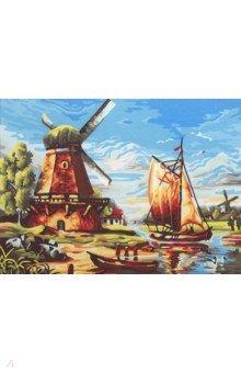 Купить Холст с красками 30х40 см СТАРАЯ МЕЛЬНИЦА (Х-6144), Рыжий Кот, Создаем и раскрашиваем картину