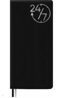 Ежедневник недатированный (56 листов, 77х150 мм, линия, мягкий переплет, ПВХ, графитовый) (52764) ()