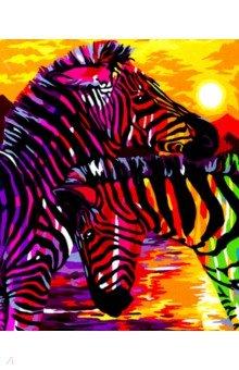 Купить Рисование по дереву 40х50 Яркие зебры (FLA047), Русская живопись, Создаем и раскрашиваем картину