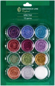 Купить Набор блесток 12 цветов Greenwich Line (DG_22026), Сопутствующие товары для детского творчества