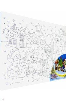 Купить Холст с красками 30х40 см Дед мороз и детишки(Х-1253), Рыжий Кот, Создаем и раскрашиваем картину