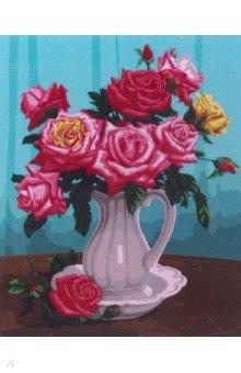 Купить Рисование по дереву 40*50 Розы в белой вазе (FLA011), Русская живопись, Создаем и раскрашиваем картину