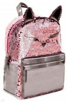 Купить Рюкзак искусственная кожа 35х26х12 1 отделение Розовый кот (49267), Феникс+, Ранцы и рюкзаки для начальной школы