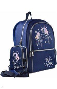 Купить Рюкзак школьный нейлон 33х40х14 см, 2 отделения, Единорог (54123), Феникс+, Ранцы и рюкзаки для начальной школы