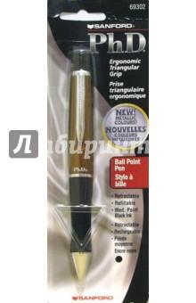 Ручка шариковая черная PhD 69302 (корич. корпус).