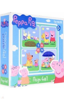 Купить Пазл 4 в 1 Peppa Pig. На отдыхе (01599) ISBN: 4680293015996