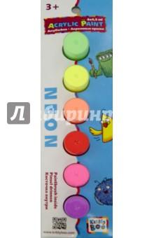 Набор неоновых акриловых красок с кисточкой, 6 цветов по 4,5 мл. (60765) ISBN: 6438240607651  - купить со скидкой