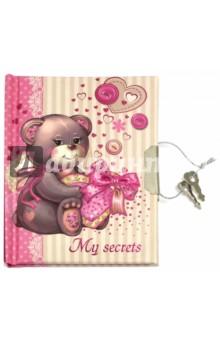 Записная книжка для детей на замке Мишка с сердечком. 48 листов (42662)
