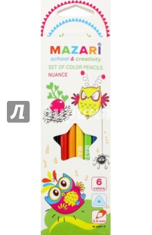 Купить Карандаши 6 цветов NUANCE, пластиковые, трехгранные (М-6097- 6) ISBN: 4680019397368