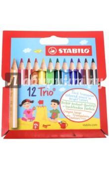 Купить Карандаши 12 цветов Trio , трехгранные, утолщенные, укороченные (181104) ISBN: 3168070205125