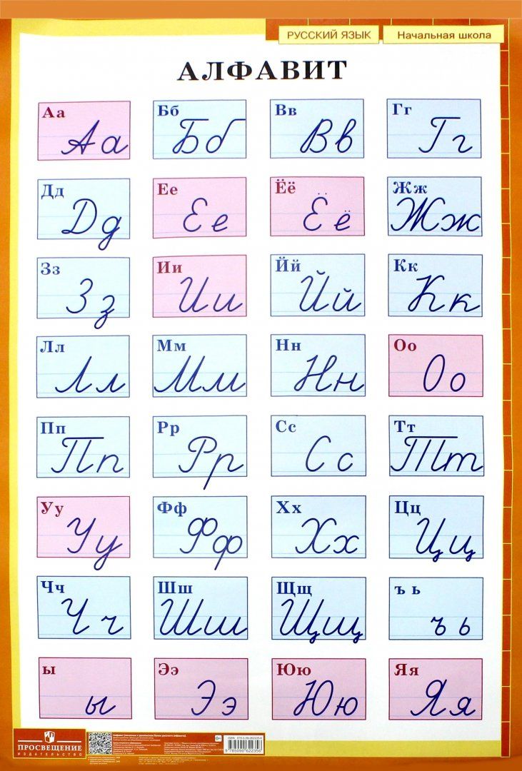 Иллюстрация 1 из 3 для Алфавит. Печатные и рукописные буквы русского алфавита. Демонстрационная таблица для начальной школы | Лабиринт - книги. Источник: Лабиринт