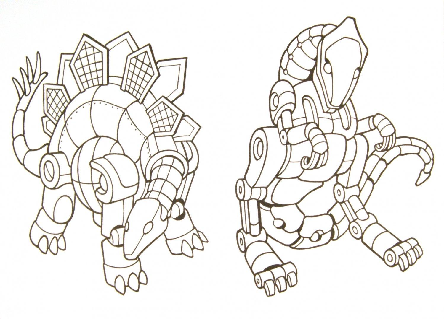 Иллюстрация 1 из 5 для Роботы-динозавры. Раскраска | Лабиринт - книги. Источник: Лабиринт