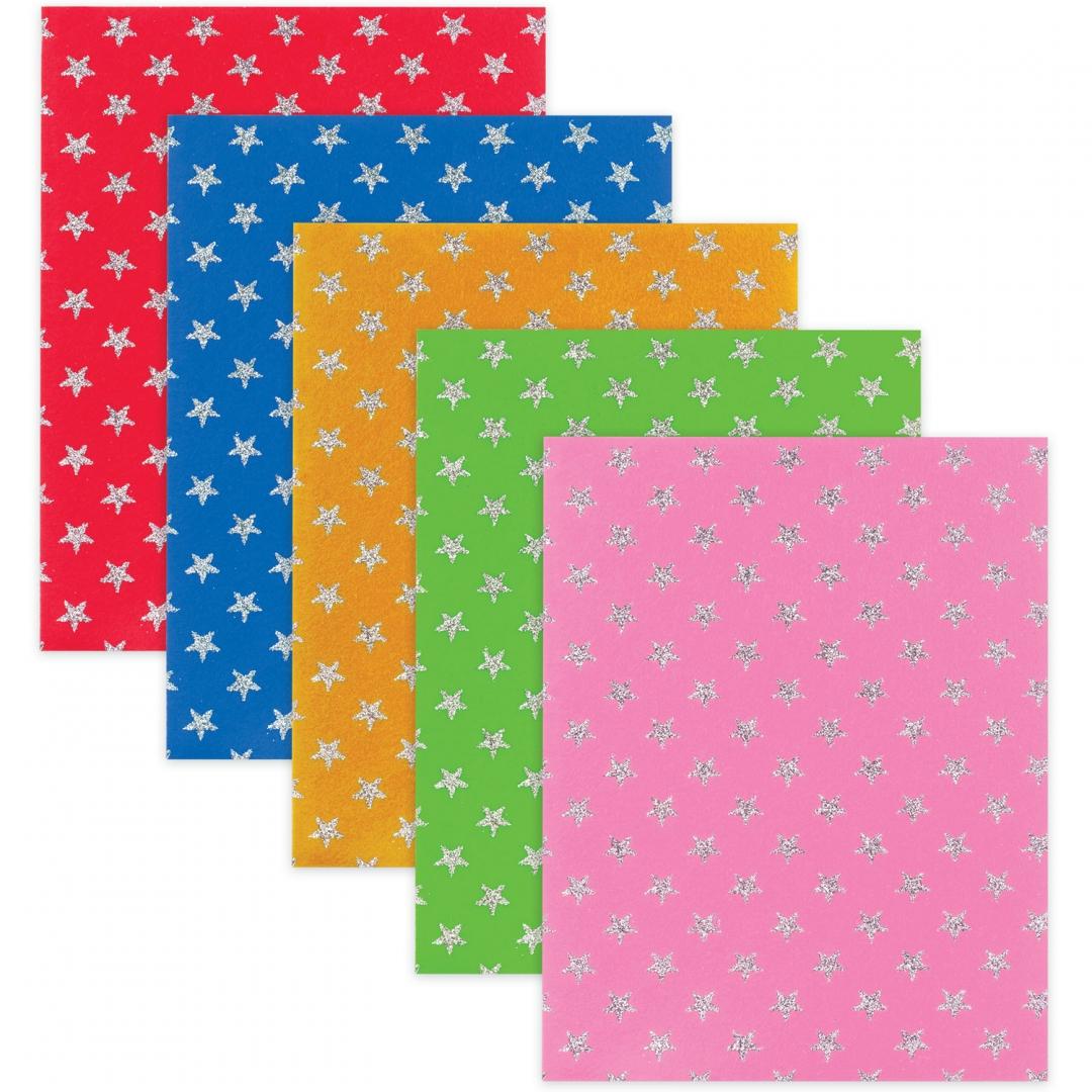 Иллюстрация 1 из 16 для Фетр цветной для творчества (узор из блесток, А4, 5 листов, 5 цветов) (660089) | Лабиринт - игрушки. Источник: Лабиринт