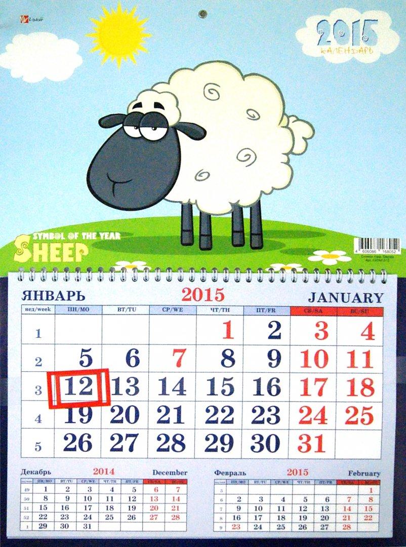 Иллюстрация 1 из 4 для 2015. Календарь одноблочный. Овечка (ККОМ1512) | Лабиринт - сувениры. Источник: Лабиринт