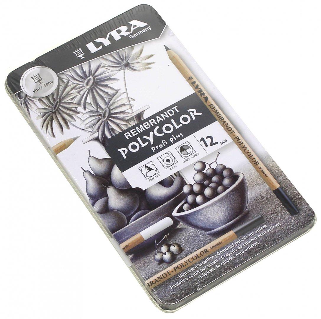 Иллюстрация 1 из 4 для Набор карандашей для черно-белого рисования 12 штук, в металлической коробке (L2001122)   Лабиринт - канцтовы. Источник: Лабиринт